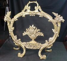 ANTIQUE VICTORIAN BRASS FIRE SCREEN c. 1900