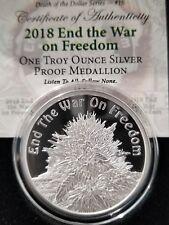 Legalize it PROOF Cannabis end the war 1 OZ .999 Silver Shield Marijuana pot NEW