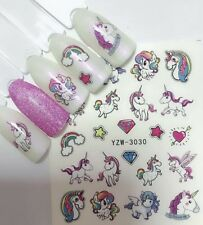 UNICORN NAIL STICKER TRANSFER ART WATER DECALS BIRTHDAY PARTY LOLLY LOOT BAG