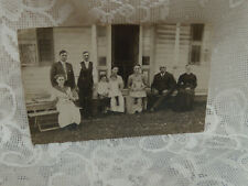 vintage picture postcard old family gathering children -men and woman