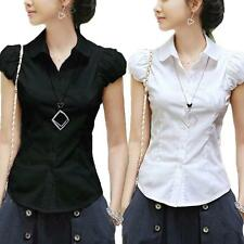 kala womens Career cap sleeve blouse Collared Casual Shirt summer Vintage Top Sz