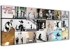 Banksy Graffiti Collage LONA pared arte moderno 120 Cm Ancho - 1356