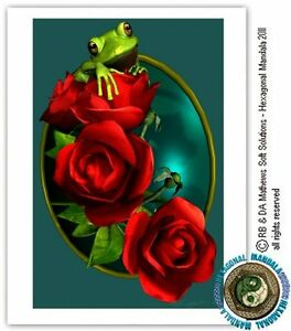 © ART - green tree FROG red roses romance love Original Artist Print by Di