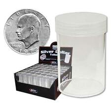 10 NEW BCW SILVER DOLLAR CLEAR PLASTIC COIN STORAGE TUBES W/ SCREW ON CAPS