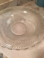Depression Glass Bowl Swirled Clear Glass Diana Pattern 1937-1941