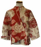 IC by Connie K Embroidered Dinner Jacket w/ Deco Button - Red-Creme/ XL (NWT)