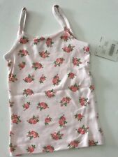 NEW 2-3 T JANIE & JACK GIRLS PINK FLORAL CAMI UNDERSHIRT TANK WHITE SUPER SOFT!