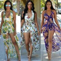 Women Ladies V neck Halter backless Print short jumpsuit Romper Long Maxi Dress