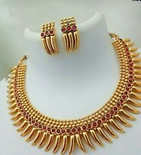 Indian Traditional South Indian Gold Plated Earrings Fashion Jewelry Set