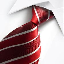 Nuevo Rojo Blanco Raya Clásico Para hombres boda corbata seda chino vendedor del Reino Unido Hijo De Regalo