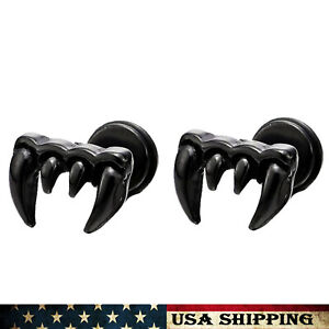 Mens Womens Earrings Punk Rock Stainless Steel Dragon Eagle Claw Stud Earrings