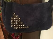 TYLIE OF MALIBU INDIGO BLUE SUEDE STUDDED PURSE HANDBAG