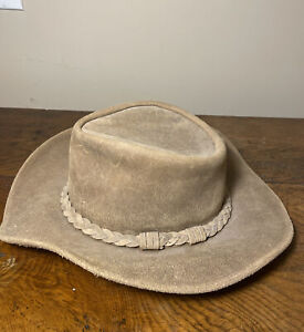 Minnetonka Leather Suede Cowboy Outback Hat Size Large Brown