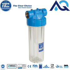 "10"" in-line Water Filter Housing & pressure relief valve 1"" brass FHPR1-B-AQ"