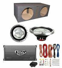 "2)NEW BOSS CX122 12"" 3000W Car Subwoofers + Sub Box + 1600W Amplifier + Amp Kit"