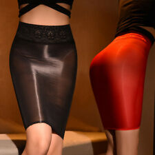 Womens Nylon Sheer Shiny Dress Lace Up Mini Tube Skirt Bodycon Lingerie Clubwear