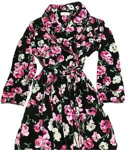 Karen Neuburger Women's Robe Long Sleeve Shawl Collar Floral Black Size Med