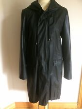 Zara Woman Black Lightweight Parka Coat With Faux Leather Sleeves Size Medium