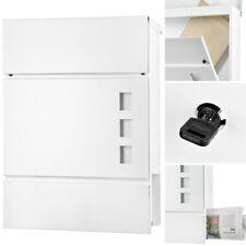 Wandmontage Briefkasten Weiß Stahl Zeitungsbox Letterbox Postkasten Mail Rolle