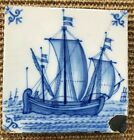 ANTIQUE 18C DUTCH DELFT TILE BLUE AND WHITE FEATURING A SHIP IN SAIL