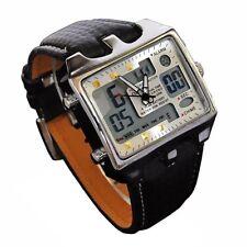 Mens Watch Big Square Face LED Dual Time Analog Digital Dial Reloj de Hombres