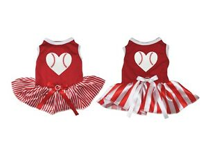 Valentine Baseball Heart Red Cotton Top White Striped Tutu Pet Dog Puppy Dress