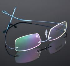 Flexible titanium alloy rimless Eyeglasses Women Men glasses Frames optic Blue