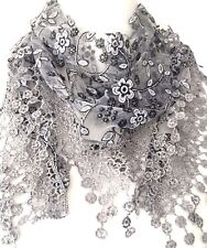Lace Triangle Scarf Grey White Vintage Style Scarf Sparkly Tassel Trim Wedding