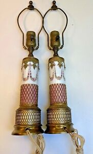 Sevres~Antique 18th C. French PR~hand painted PINK lamps~bronze Ormolu Mounts