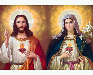 SACRED HEART OF JESUS WITH MARY 8X10 PHOTO PICTURE CHRISTIAN ART
