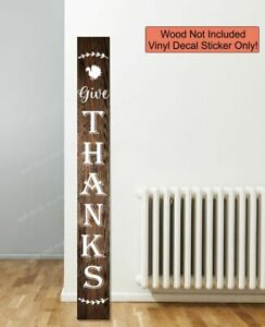 Decal Sticker for Tall Wood Sign Fall Porch Give Thanks Wreath Autumn Turkey Art