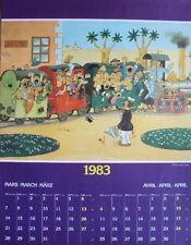 PAGE DE CALENDRIER ILLUSTRE PAR DUBOUT MARS AVRIL 1983