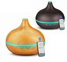 Wood LED Light Indoor Aroma Humidifier Essential Oil Diffuser w/ Remote Control