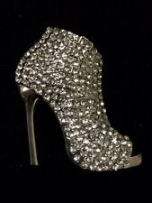 Rhinestone Crystal Stiletto Shoe Boot High Heel Brooch Pin Scarf Decoration #60