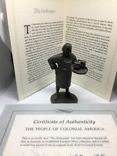 Franklin Mint People of Colonial America Pewter Figurine Coa booklet Inn Keeper
