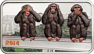 Tanzania 2014 Three Wise Monkeys 1500 Shillings 1oz Colour Silver Coin,Proof