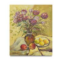 NY Art - Purple Flowers & Fruit Still Life 20x24 Original Oil Painting on Canvas