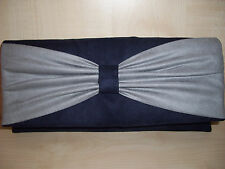GREY & NAVY BLUE faux suede clutch bag  fully lined with bow BN, made in the UK