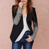 Elegant Women Thin Jacket Coat Long Sleeves Silver Black Sequin Slim Work Blazer