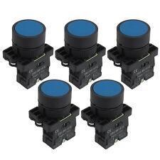 5PCS 22mm 1 NO N/O Blue Sign Momentary Push Button Switch 600V 10A