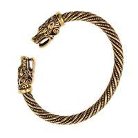 Viking Gold FENRIR Wolf Norse SACRED ARM RING Steel Bracelet Ragnar Lothbrok NEW