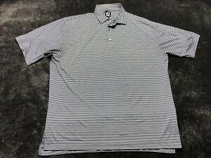 Footjoy FJ Men's Short Sleeve Polo Shirt Golf Size 2XL XXL Blue White Striped
