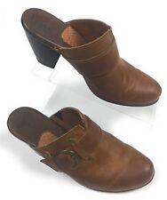 Bøc Børn Concept Suzi Tan Leather Buckle Mules Clogs Heels Shoes Women's 9 US