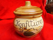 Bunzlauer Keramik Konfitüre Topf Unikat Handarbeit weißer Ton