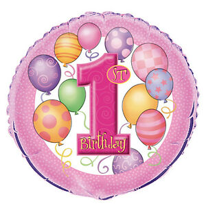 "Girls First 1st Birthday Party 45cm Foil Balloon - Pink ""1st Birthday Balloons"""