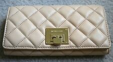 NWT MICHAEL MICHAEL KORS Astrid Quilted Leather Carryall Clutch Wallet Nude