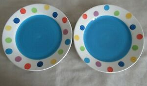 WHITTARD ~  2 X POLKA DOT / BLUE ~ SIDE PLATES ~ 20cm