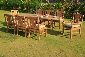 """DSOS A-Grade Teak Wood 9pc Dining 94"""" Rectangle Table 8 Arm Chair Outdoor"""