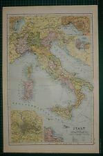 1905 ANTIQUE MAP ~ ITALY ~ ROME PALERMO SICILY MESSINA NAPLES TUSCANY EMILIA
