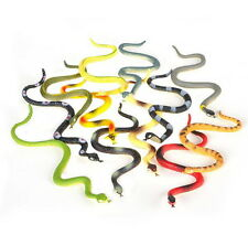 "12 RAIN FOREST RUBBER SNAKES 6"" REALISTIC FAKE SNAKE HISSING TONGUE, GAG GIFT"
